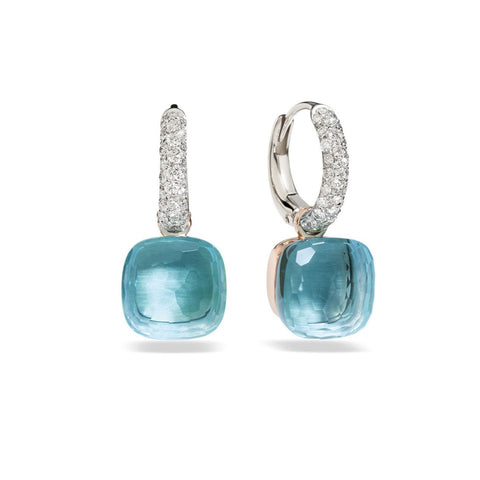 "Pomellato ""Nudo"" Small Earrings with Blue Topaz and Diamonds, 18k Rose and White Gold."