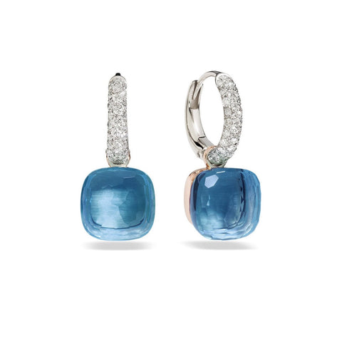 Pomellato - Nudo - Earrings with  London Blue Topaz and Diamonds, 18k Rose and White Gold