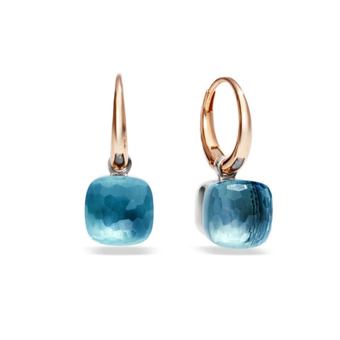 "Pomellato ""Nudo"" Small Earrings with Blue Topaz, 18k Rose and White Gold."