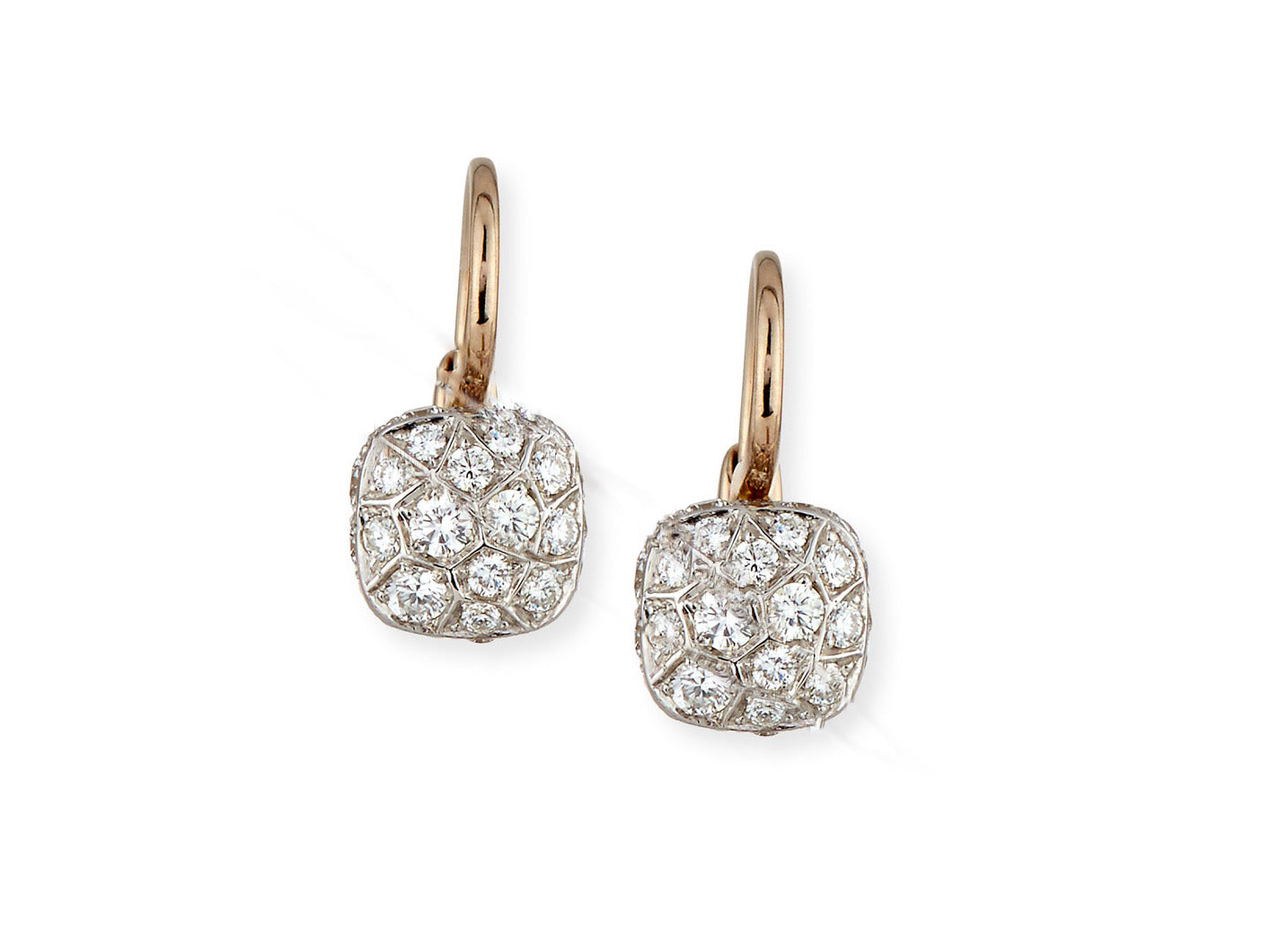 "Pomellato ""Nudo"" Earrings with Diamonds, 18k White and Rose Gold"