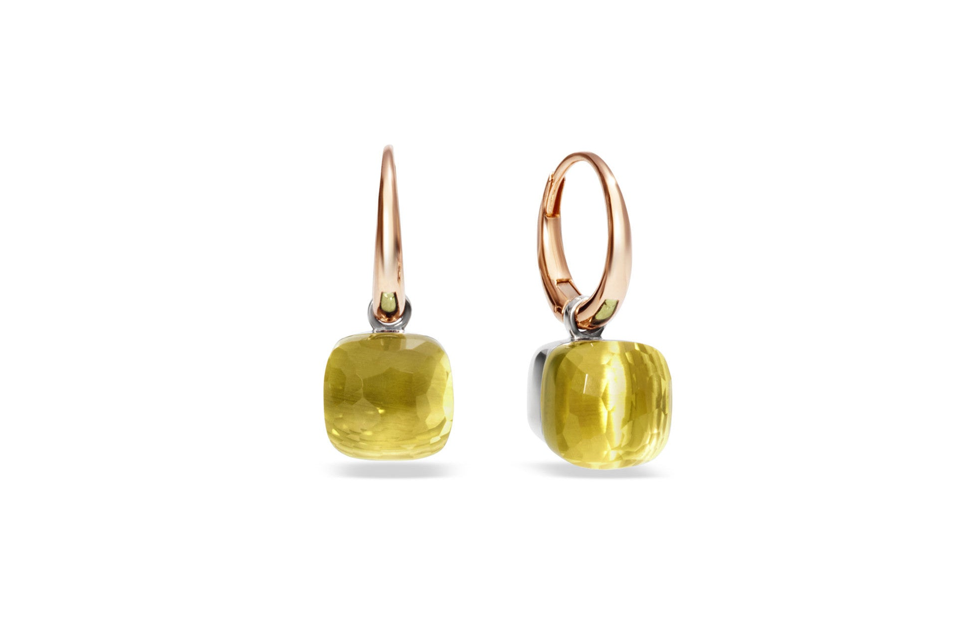 "Pomellato ""Nudo"" Small Earrings with Lemon Quartz, 18k Rose and White Gold."