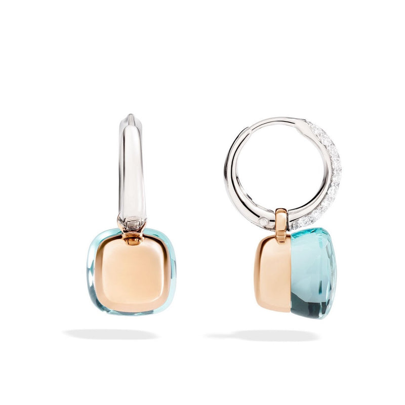 Pomellato - Nudo - Earrings with Blue Topaz and Diamonds, 18k Rose and White Gold