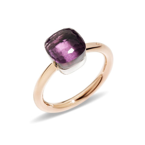 "Pomellato ""Nudo"" Petit Ring with Amethyst, 18k Rose and White Gold."
