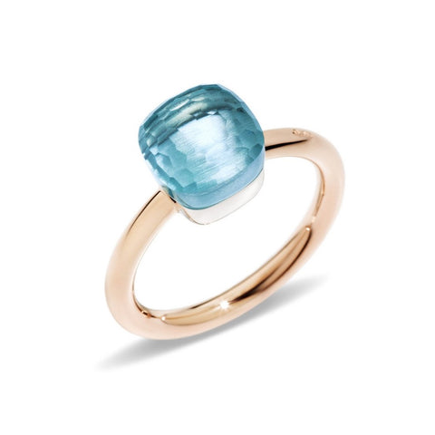 "Pomellato ""Nudo"" Petit Ring with Blue Topaz, 18k Rose and White Gold."