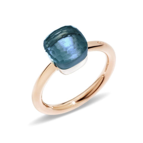 "Pomellato ""Nudo"" Petit Ring with London Blue Topaz, 18k Rose and White Gold."