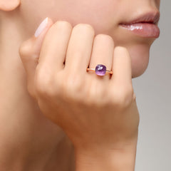 POMELLATO-NUDO-PETIT-STACKABLE-RING-AMETHYST-ROSE-GOLD-A.B403/O6/OI