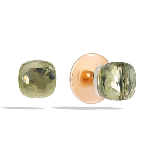 "Pomellato ""Nudo"" Stud Earrings with Prasiolite, 18k Rose and White Gold."