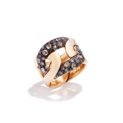 "Pomellato ""Tango"" Band Ring, 18k Rose Gold and Brown Diamonds"
