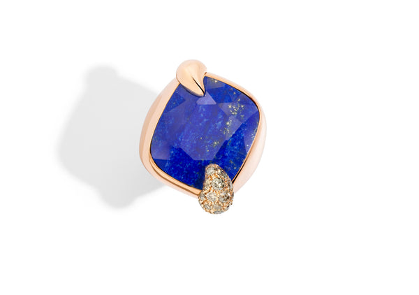 Pomellato - Ritratto - Ring with Lapis and Brown Diamonds, 18k Rose Gold