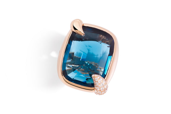 POMELLATO-RITRATTO-RING-LONDON-BLUE-TOPAZ-DIAMONDS-ROSE-GOLD-A.B708GB7/TL