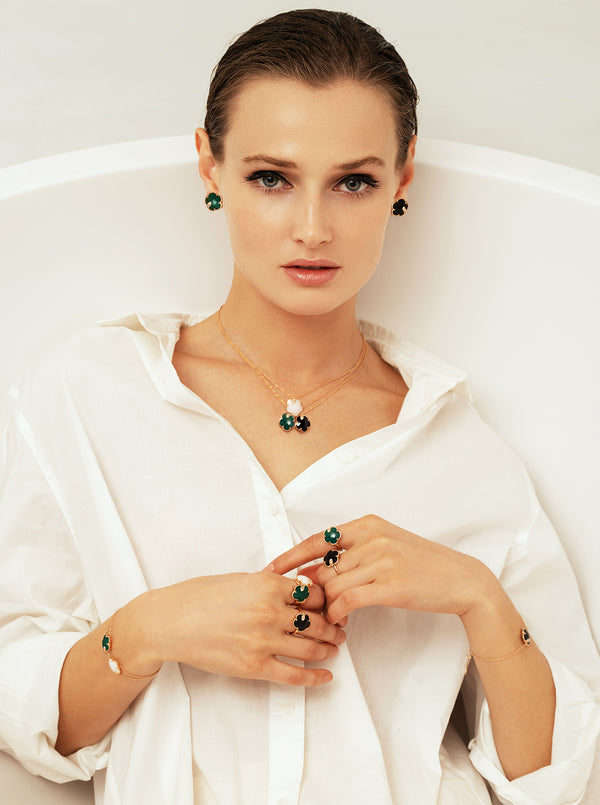 Pasquale Bruni - Petit Joli - Earrings, 18K Rose Gold, Green Agate and Diamonds