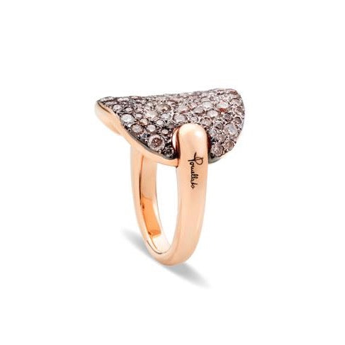 Pomellato - Sabbia - Ring with Brown and White Diamonds, 18k Rose Gold and Black Rhodium
