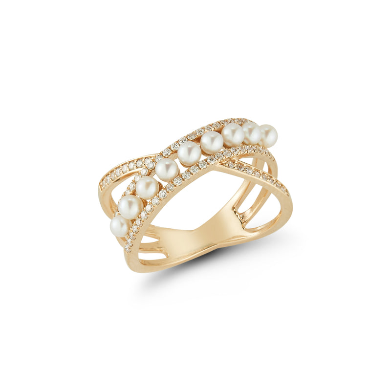 Dana Rebecca Designs - Pearl Ivy Pave' Crossover Ring with Pearls, Yellow Gold.
