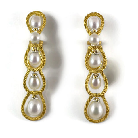 "Buccellati ""Rete Pearls"" Drop Earrings with Pearls, 18k Yellow Gold."