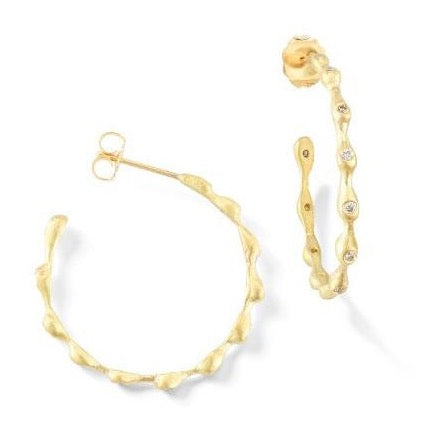 "Sandy Leong ""Rain"" Medium Hoop Earrings with Brown Diamonds, 18k Yellow Gold."