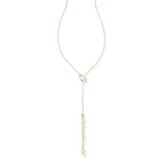"Sandy Leong ""Rain"" Lariat Necklace with Brown Diamonds, 18k Yellow Gold."