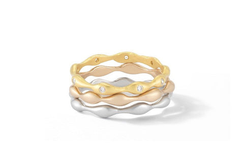 "Sandy Leong ""Rain"" Stackable Ring with Brown Diamonds, 18k Yellow Gold."