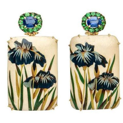 Silvia Furmanovich - Drop Earrings with Iris Flowers Marquetry, Tsavorite and Kyanite, 18k Yellow Gold