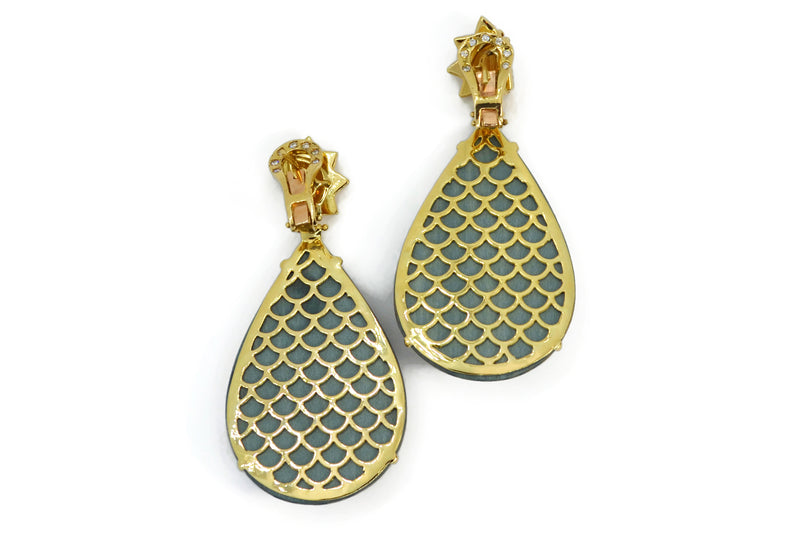 Silvia Furmanovich - Drop Earrings with Ethnic Blue and Yellow Marquetry, Citrine and Diamonds, 18k Yellow Gold