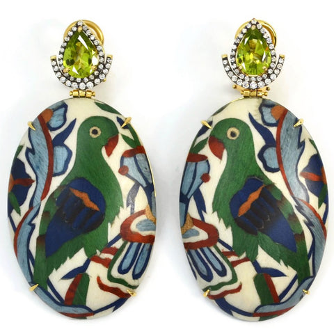 Silvia Furmanovich - Drop Earrings with Parrot Marquetry, Peridot and Diamonds, 18k Yellow Gold