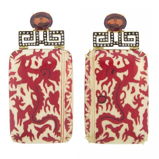 SILVIA-FURMANOVICH-DROP-EARRINGS-RED-CHINESE-DRAGON-MARQUETRY-GARNET-DIAMONDS-YELLOW-GOLD-BR4364