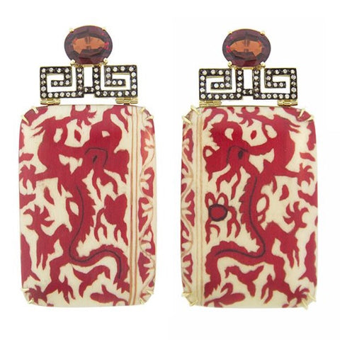 Silvia Furmanovich - Drop Earrings with Red Chinese Dragon Marquetry, Garnet and Diamonds, 18k Yellow Gold