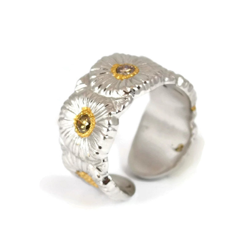 BUCCELLATI-BLOSSOM-DAISY-ETERNELLE-BAND-BROWN-DIAMONDS-RING-SILVER-SRFRMRBET-Y