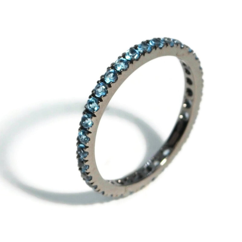 A & Furst - France Eternity Band Ring with Blue Topaz all around, French-set, 18k Blackened Gold