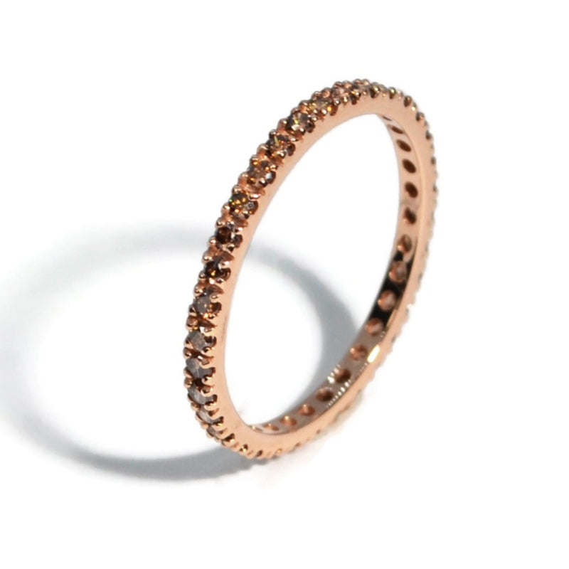 A & Furst - France Eternity Band Ring with Brown Diamonds all around, French-set, 18k Rose Gold