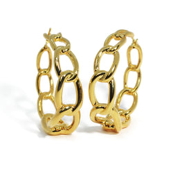 af-jewelers-link-chain-hoop-earrings-yellow-gold-OOX0260
