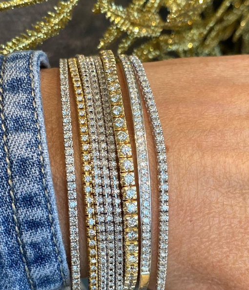 AFJ Diamond Collection  - Tennis Bracelet with Diamonds, 18k Yellow Gold