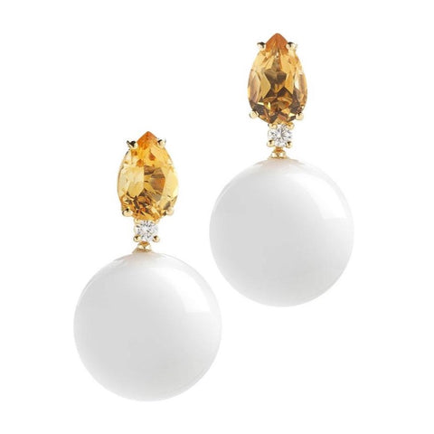 A & Furst - Bonbon - Earrings with Citrine, White Agate and Diamonds, 18k Yellow Gold.