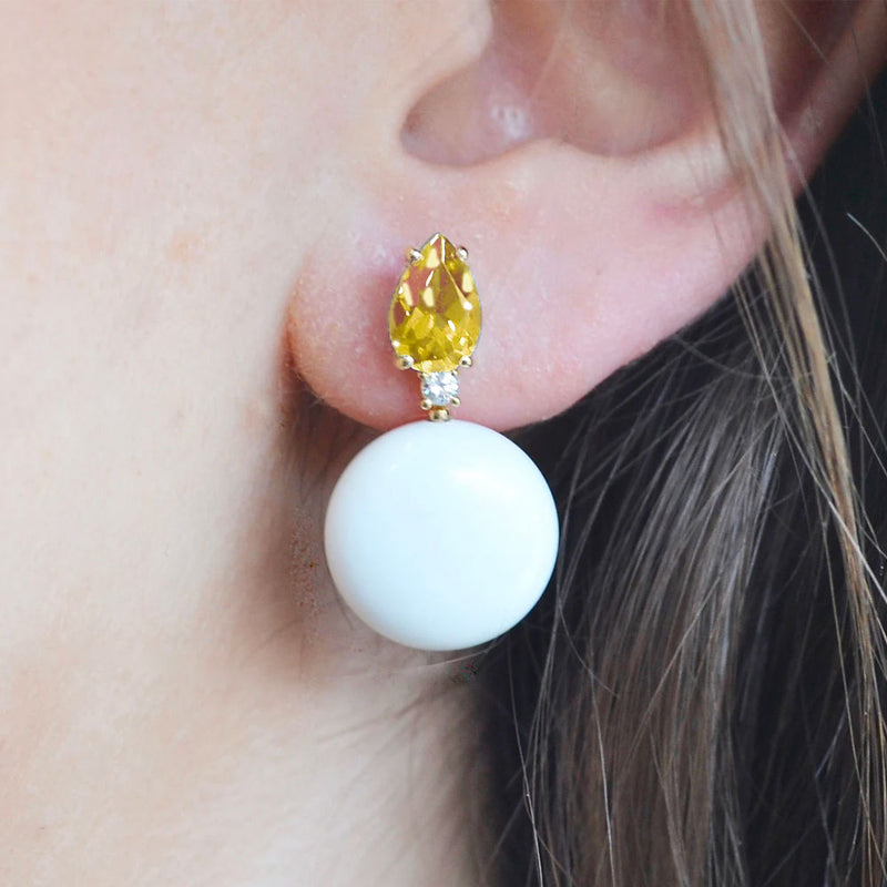 A & Furst - Bonbon - Earrings with Citrine, White Agate and Diamonds, 18k Yellow Gold