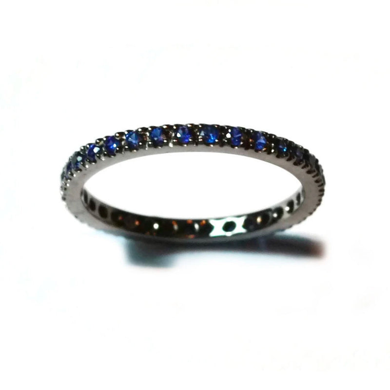 A & Furst - France Eternity Band Ring with Blue Sapphires all around, French-set, 18k Blackened Gold