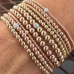 Karen Lazar  - 2 mm Rose Gold Filled Bead Flex Bracelet