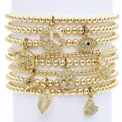 Karen Lazar - 3 mm Yellow Gold Filled Bead Flex Bracelet, Diamond Heart Charm