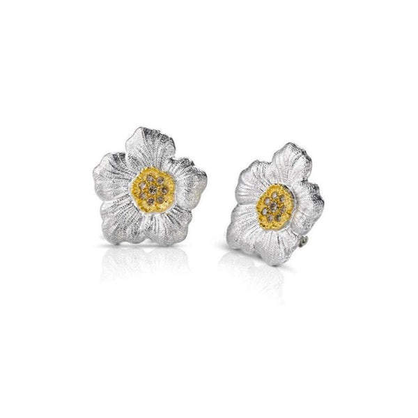 Buccellati - Blossoms Gardenia - Button Earrings with Brown Diamonds, Sterling Silver, Gold Accents