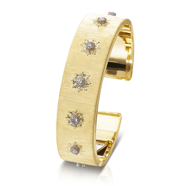 Buccellati - Macri Classica - Cuff Bracelet with Diamonds, 18k Yellow and White Gold, width 15.5 mm