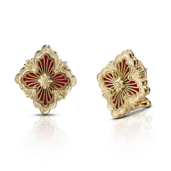 buccellati-opera-tulle-button-earrings-red-cathedral-enamel-yellow-gold-JAUEAR014931