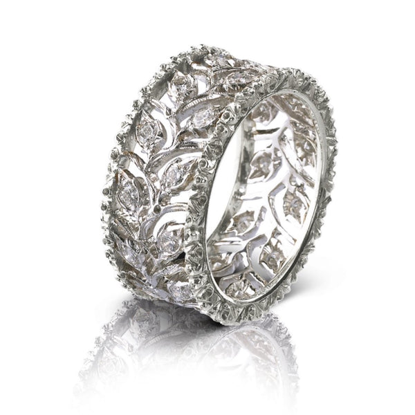 Buccellati - Ramage - Eternelle Band Ring with Diamonds, 18k White Gold