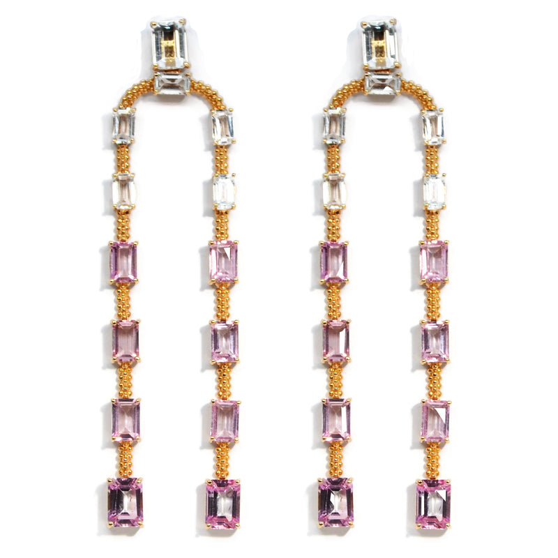 Carla Amorim - Acqua - Drop Earrings, Topaz, Rose Gold
