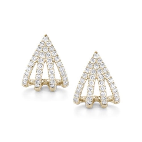 Dana Rebecca Designs -Sarah Leah Four Burst Huggie Earrings, Yellow Gold, Diamonds