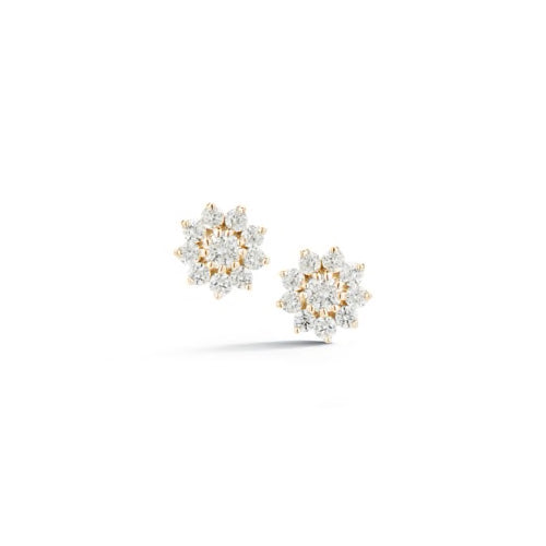 Dana Rebecca Designs - Jennifer Yamina - Diamond Pointed Flower Studs, Yellow Gold