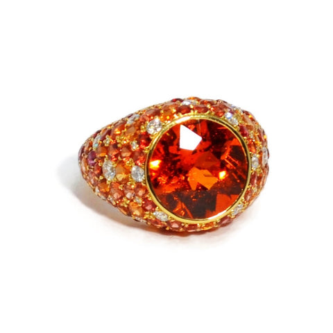 Eclat - One of a Kind Ring with Mandarin Garnet, Orange Sapphires and Diamonds, 18k Yellow Gold