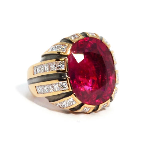 Eclat - One of a Kind Cocktail Ring with Rubellite and Diamonds, 18k Rose and Blackened Gold