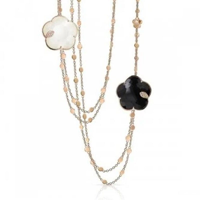 Pasquale Bruni - Ton Joli - Necklace, 18K Rose Gold, Black Onyx, White Agate, Mother of Pearl, and Diamonds