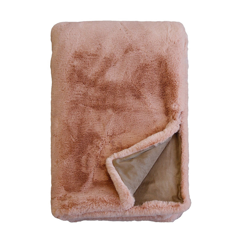 MULBERI Pele Faux Fur Throw - Dusty Rose