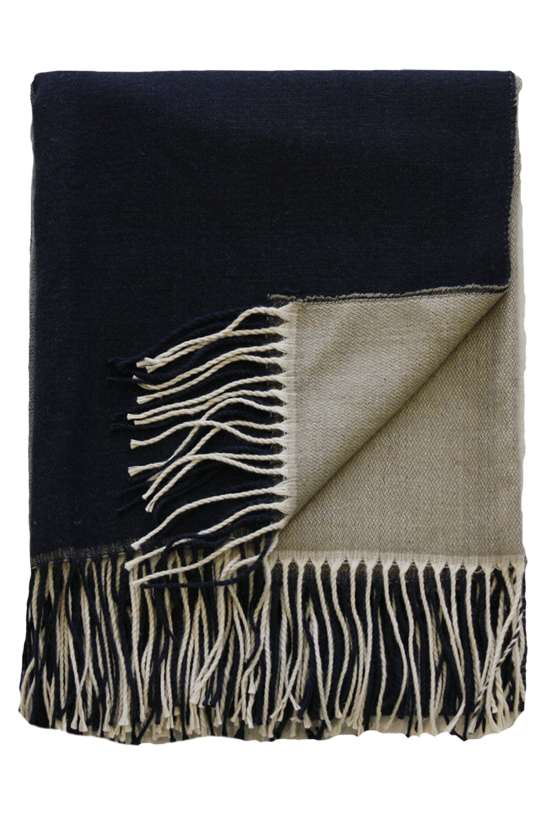 MULBERI McMurdo Throw - Taupe & Navy