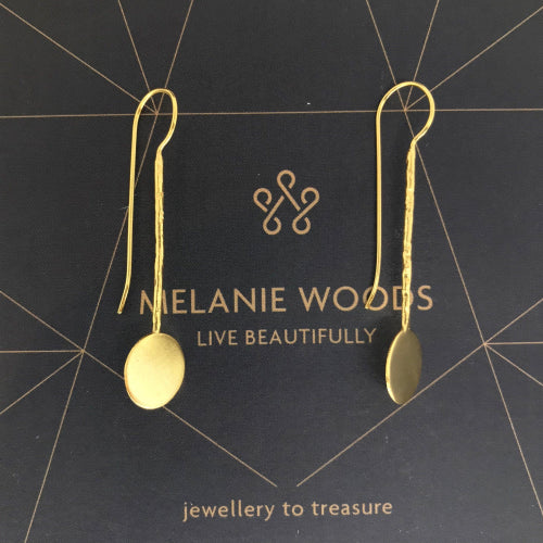 MELANIE WOODS - Long Disc Hook Earrings - Silver