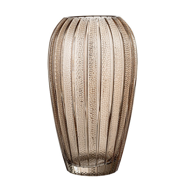 BLOOMINGVILLE  Ava Ribbed Brown Glass Vase
